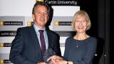 Cannings Purple Managing Director Warrick Hazeldine and Curtin University Vice-Chancellor Deborah Terry.