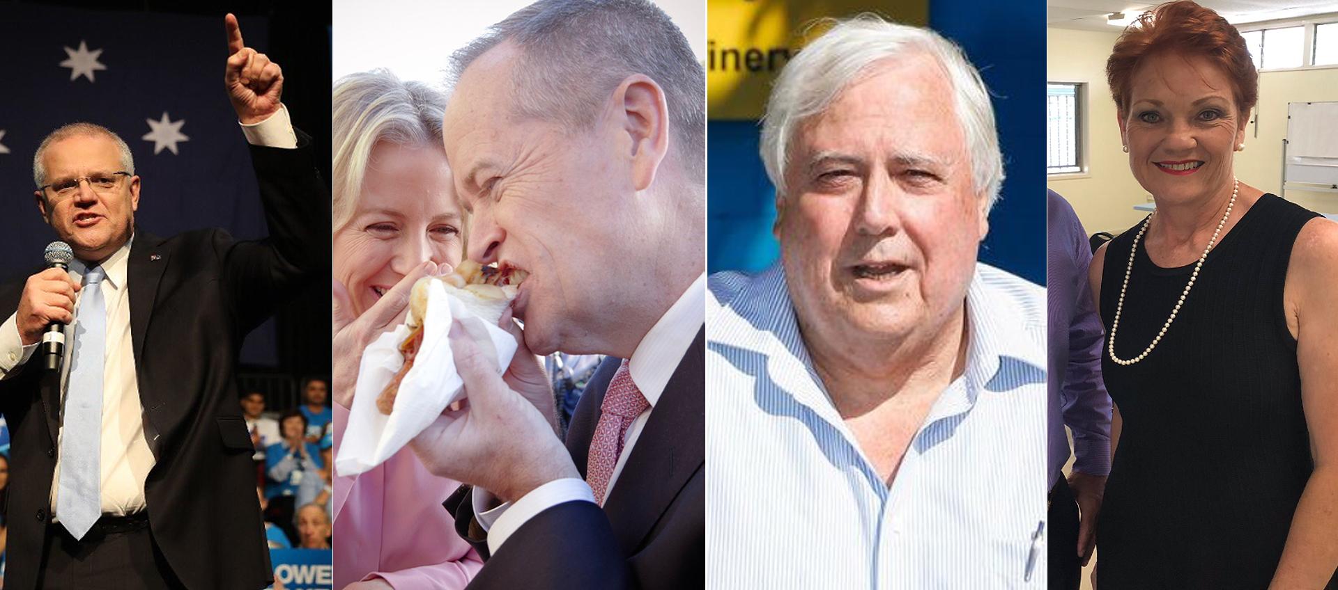 Prime Minister Scott Morrision, Bill Shorten, Clive Palmer and Pauline Hanson.
