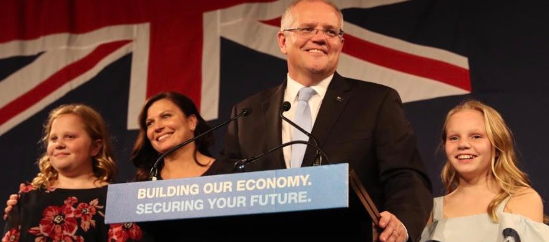 Scott Morrison and his family after he was re-elected as Australian Prime Minister.
