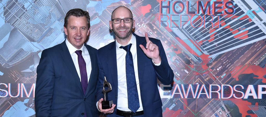 Cannings Purple Managing Director Warrick Hazeldine and Content Editor Simon White at the Asia Pacific SABRE Awards.