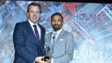 Cannings Purple Managing Director Warrick Hazeldine accepts a 2019 SABRE Award.