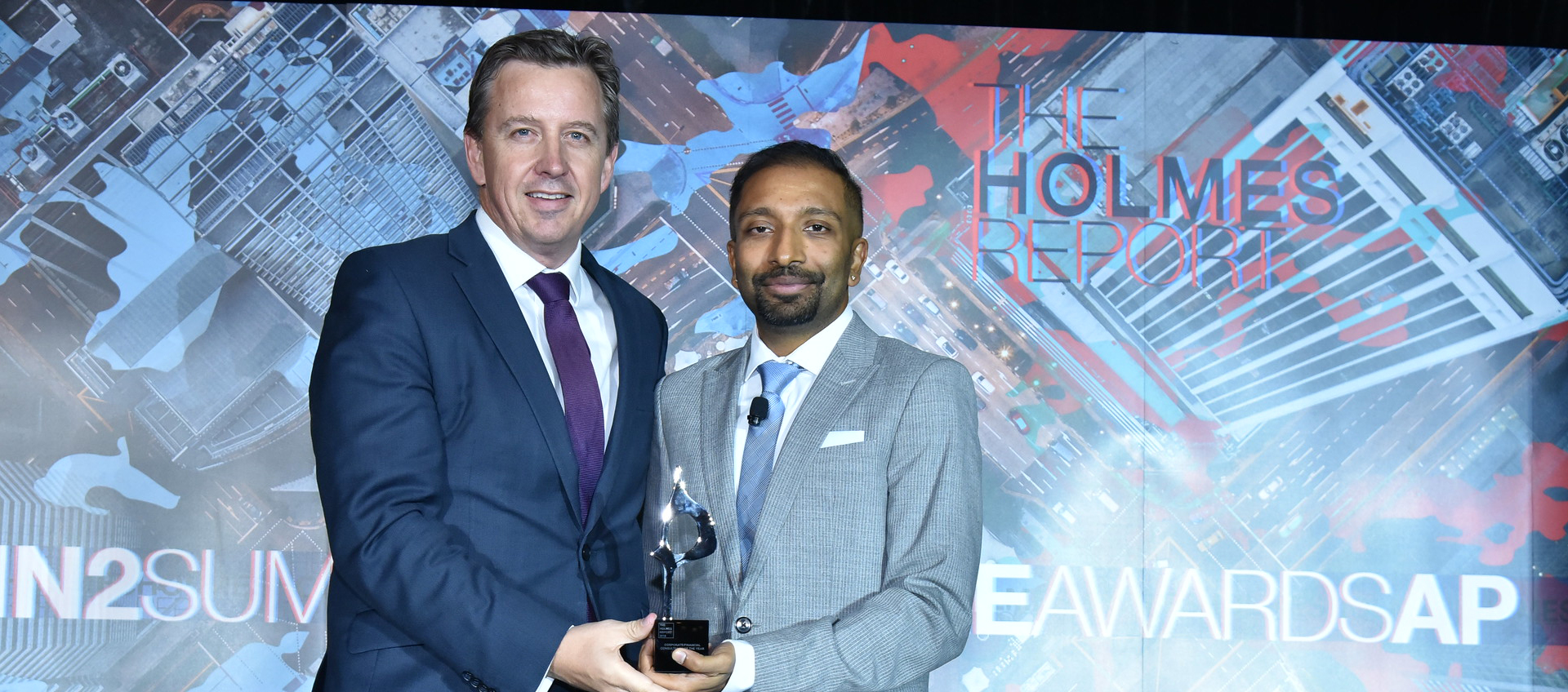 Cannings Purple Managing Director Warrick Hazeldine accepts a 2019 SABRE Award.